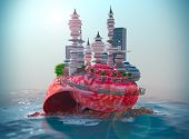 relaxing vacation concept background with seashell and ecologic futuristic city