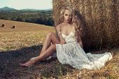 stock photo of hayfield  - Photo of sexy blonde in a field with haystacks - JPG