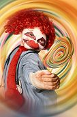 image of dizziness  - Warped hypnosis portrait of Tipsy The Hospital Clown offering a psychedelic hallucinogenic lolly pop when on a motion spinout of funny gas - JPG