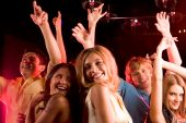picture of night-club  - Image of happy young people having fun at disco - JPG