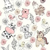 foto of burro  - seamless pattern with farm animals - JPG