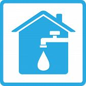 picture of spigot  - blue house icon with spigot and drop of water - JPG