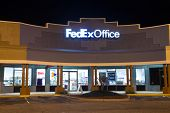 JACKSONVILLE, FL - FEBRUARY 25, 2014: A FedEx Office retail store at night. FedEx Office is a chain