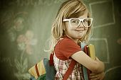picture of youngster  - Cheerful colorized retro fashion little girl at school room having education activity - JPG