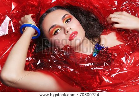 Beautiful Beauty Image of a Woman Wrapped in Cellophane