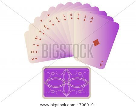 Diams Cards Fan With Deck Isolated On White