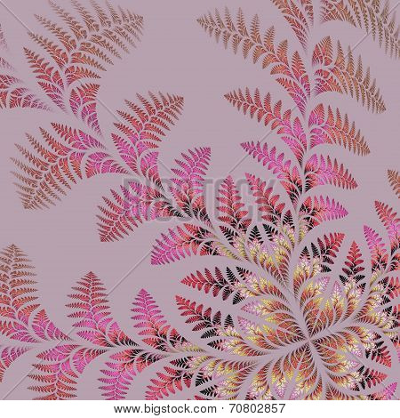 Fabulous Asymmetrical Pattern Of The Leaves On Gray Background. Computer Generated Graphics.