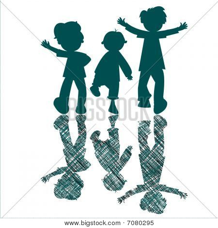 Kids Blue Silhouettes With Striped Shadows