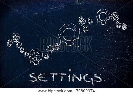 Settings: Gearwheels Of Different Styles
