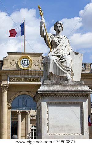 La Statue De La Loi Outside Palais Bourbon In Paris