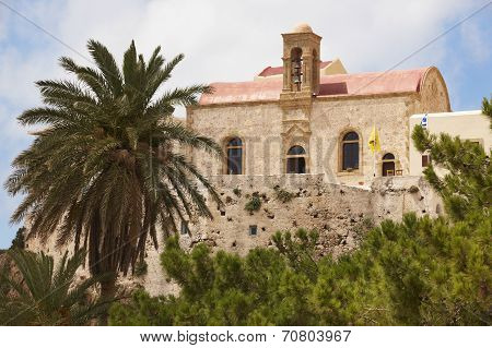 Chrisoskalitissa Monastery In Crete. Built On A Rock. Greece