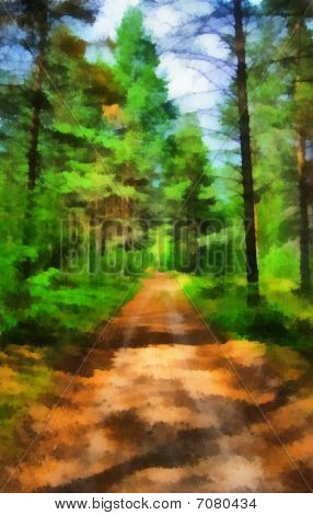 Illustration, Landscape With Road The Forest
