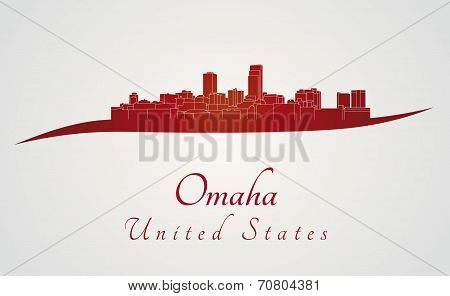Omaha Skyline In Red