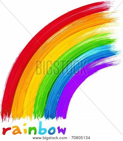 Acrylic painted rainbow, vector image