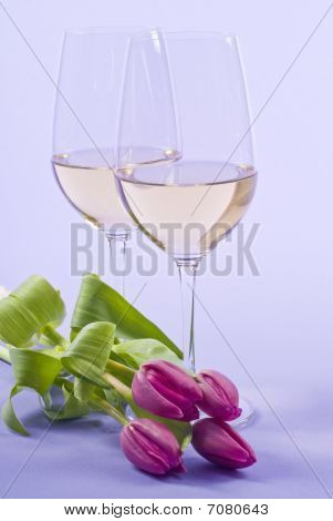 White Wine and Pink Tulips