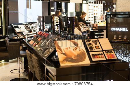 LONDON, UK - AUGUST 16, 2014: Harrods interiors with accessories and cosmetic products display