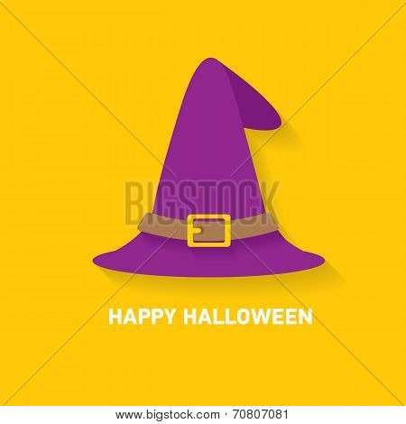 vector tall witch hat on orange background