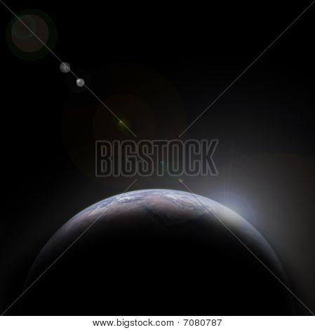 Planeta azul en el espacio con la estrella de la tierra