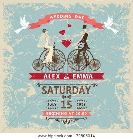 Retro wedding invitation.Bride, groom,decor elements