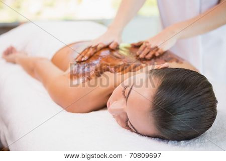 Close up of an attractive young woman receiving chocolate back mask at spa center