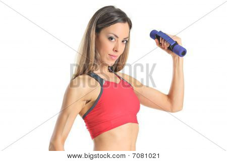 Young attractive woman with weights isolated on white