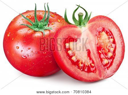 Hole tomato and half with water drops on them. Isolated on a white background.