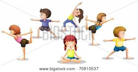Illustration of many children stretching and meditating