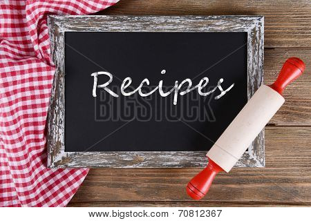 Recipes written on chalkboard, close-up