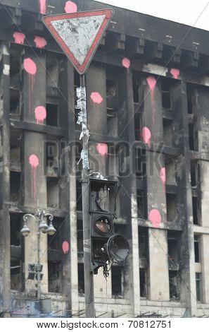 KIEV, UKRAINE - APR 19, 2014: Downtown, vandalized during Revolution of Dignity in Kiev. April 19, 2014 Kiev, Ukraine