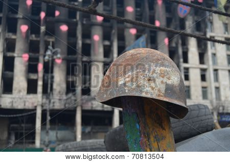 KIEV, UKRAINE - APR 7, 2014: Downtown of Kiev. Camp decoration with military items. Rioters camp. Riot in Kiev and Western Ukraine. April 7, 2014 Kiev, Ukraine.