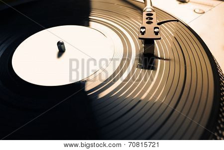 Old Fashioned Turntable Playing A Track