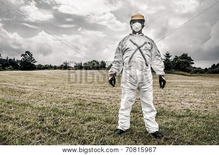 Scary Worker On A Field