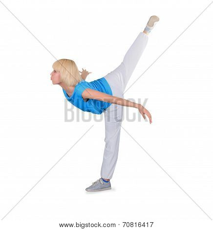 Teenager Dancing Breakdance In Action Over White