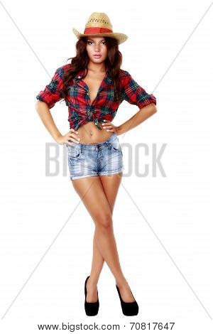full body picture of a woman cowgirl on white background