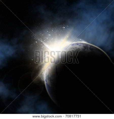 3D space background with sun rising behind planet Earth. Elements of this image taken from NASA