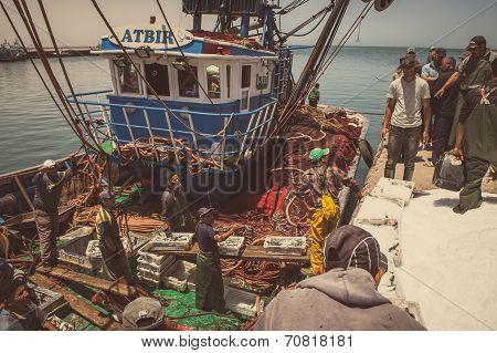 Fishermen At Boat
