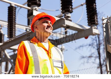senior substation technical engineer looking up