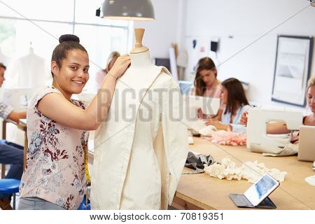 College Students Studying Fashion And Design
