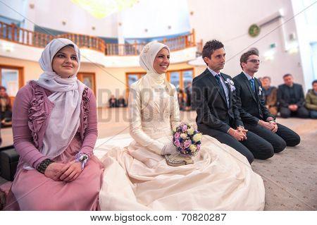 Islamic wedding ceremony at mosque