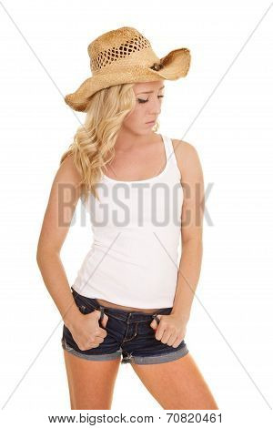 Cowgirl White Tank Thumbs In Belt Loops