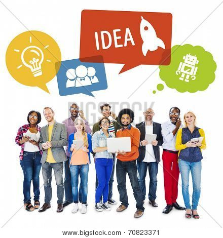 Diverse People with Modern Technologies and Idea Concept