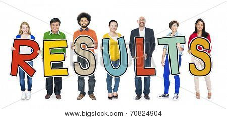 Group of People Standing Holding Result Letter