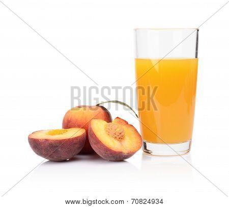 Close-up Shot Sliced Orange Peaches With Juice