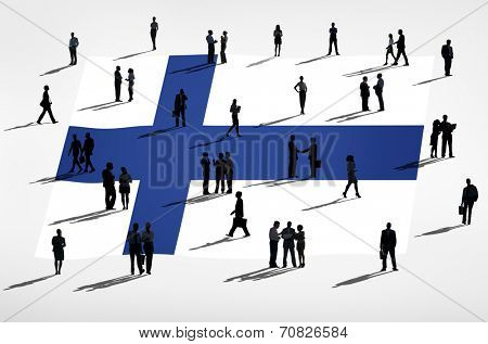 Finnish flag and a group of people.