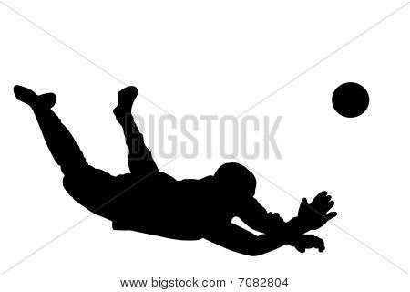 Vector illustration of goalkeeper's silhouette