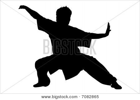 Vector illustration of karateka's black silhouette