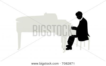 Vector illustration of pianist