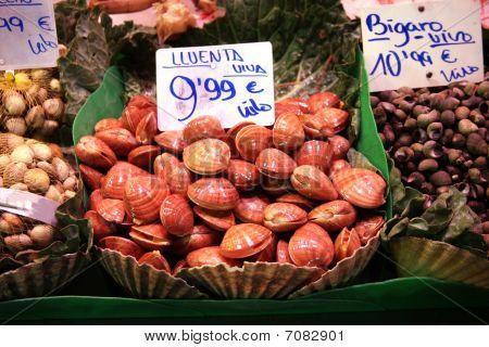Mussels On Food Market In Basket