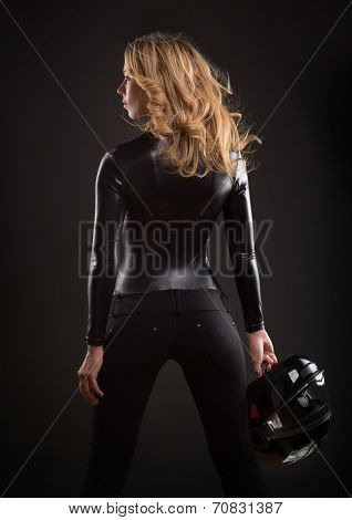 Beautiful and sexy blonde woman with helmet
