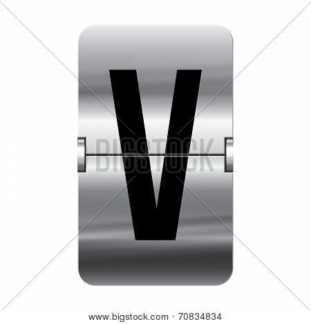Silver Flipboard Letter - Departure Board - V